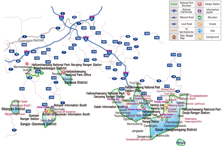 Hallyeohaesang National Park map