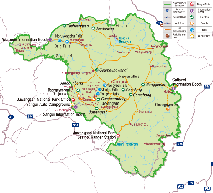Juwangsan National Park map