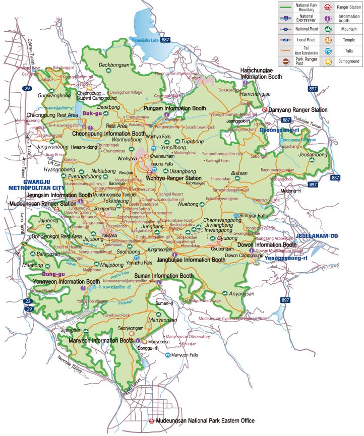 Mudeungsan National Park map