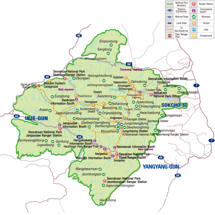Seoraksan National Park map