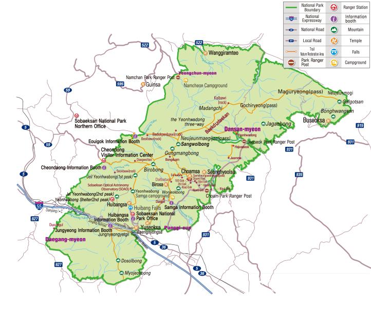 Sobaeksan National Park map