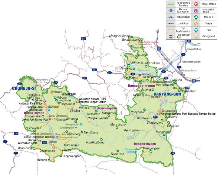 Woraksan National Park map